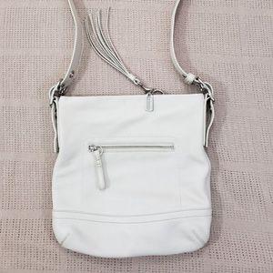 COACH White Slim Duffle Convertible Crossbody